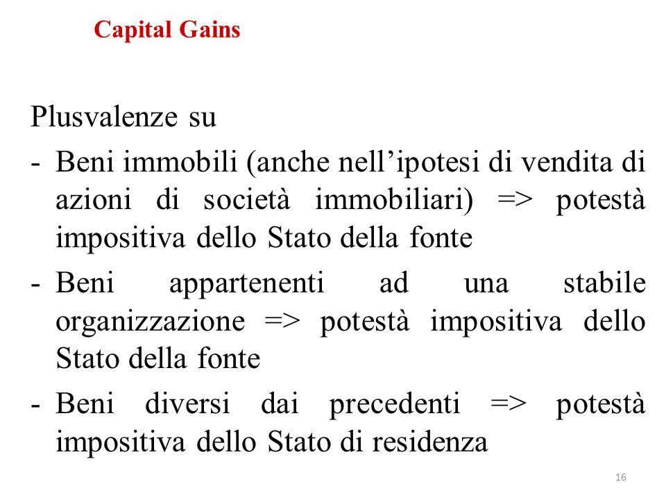 Capital Gains Plusvalenze su -Beni immobili (anche nell'ipotesi di vendita di azioni di società immobiliari) => potestà impositiva dello Stato della f