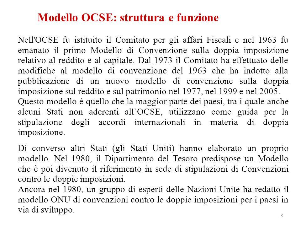 Modello OCSE: struttura e funzione Nell'OCSE fu istituito il Comitato per gli affari Fiscali e nel 1963 fu emanato il primo Modello di Convenzione sul