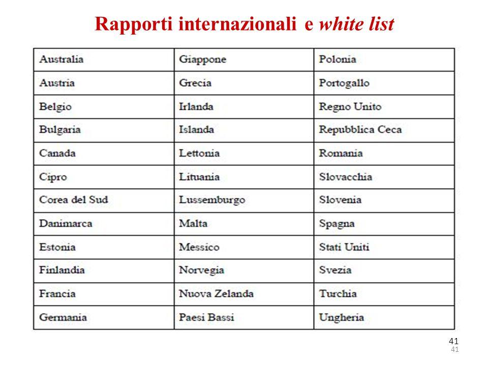 Rapporti internazionali e white list 41