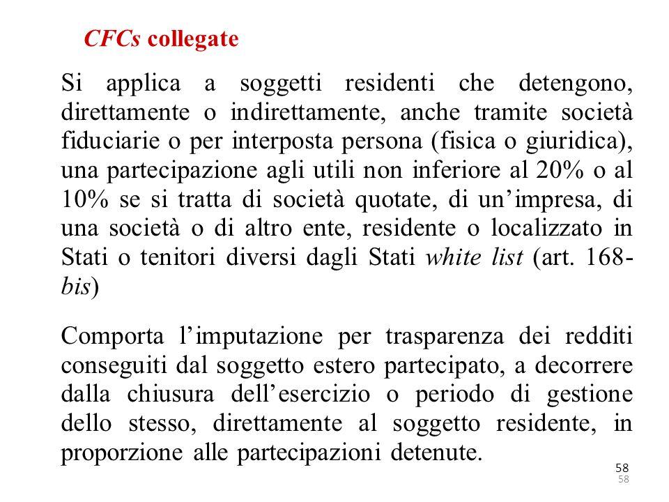 58 CFCs collegate Si applica a soggetti residenti che detengono, direttamente o indirettamente, anche tramite società fiduciarie o per interposta pers