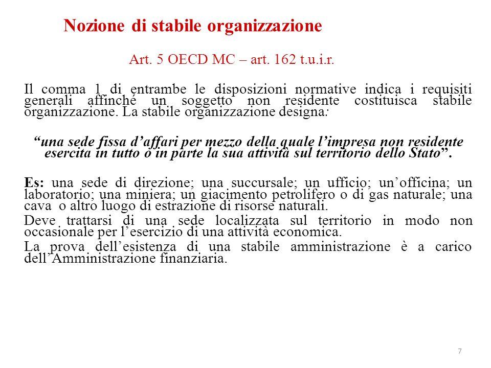 Art. 5 OECD MC – art. 162 t.u.i.r. Il comma 1 di entrambe le disposizioni normative indica i requisiti generali affinché un soggetto non residente cos