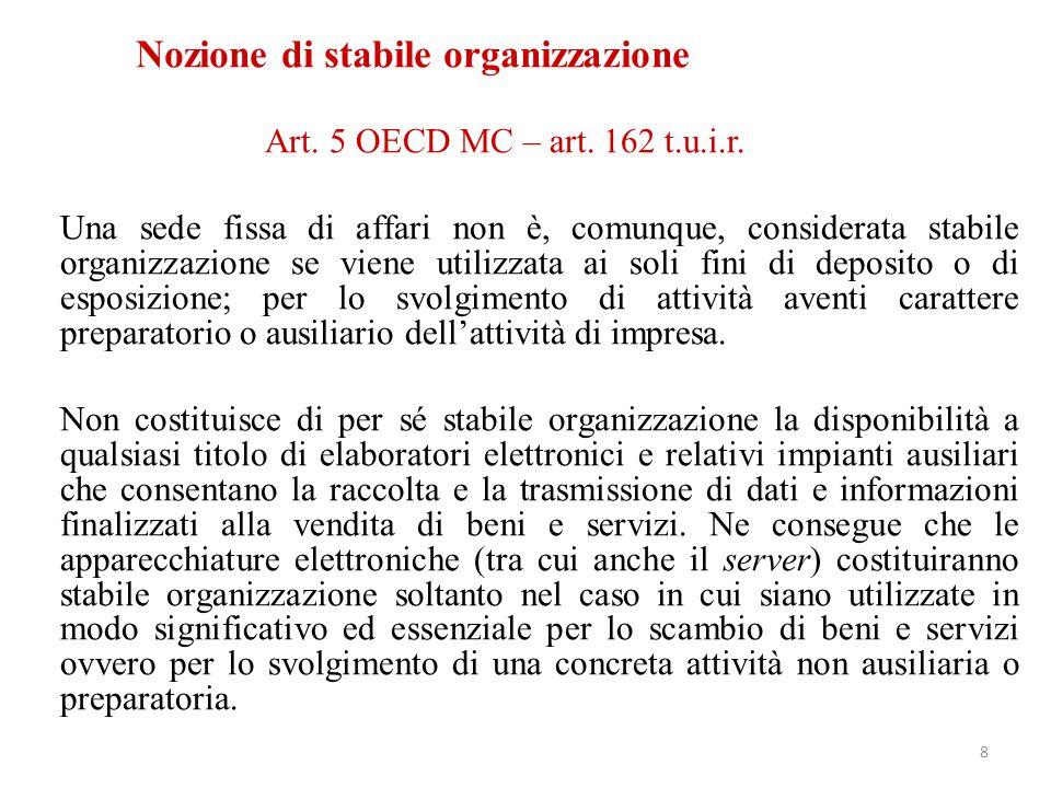 Art. 5 OECD MC – art. 162 t.u.i.r. Una sede fissa di affari non è, comunque, considerata stabile organizzazione se viene utilizzata ai soli fini di de