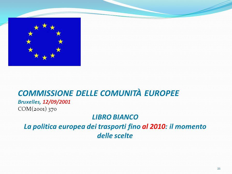 21 COMMISSIONE DELLE COMUNITÀ EUROPEE Bruxelles, 12/09/2001 COM(2001) 370 LIBRO BIANCO La politica europea dei trasporti fino al 2010: il momento delle scelte
