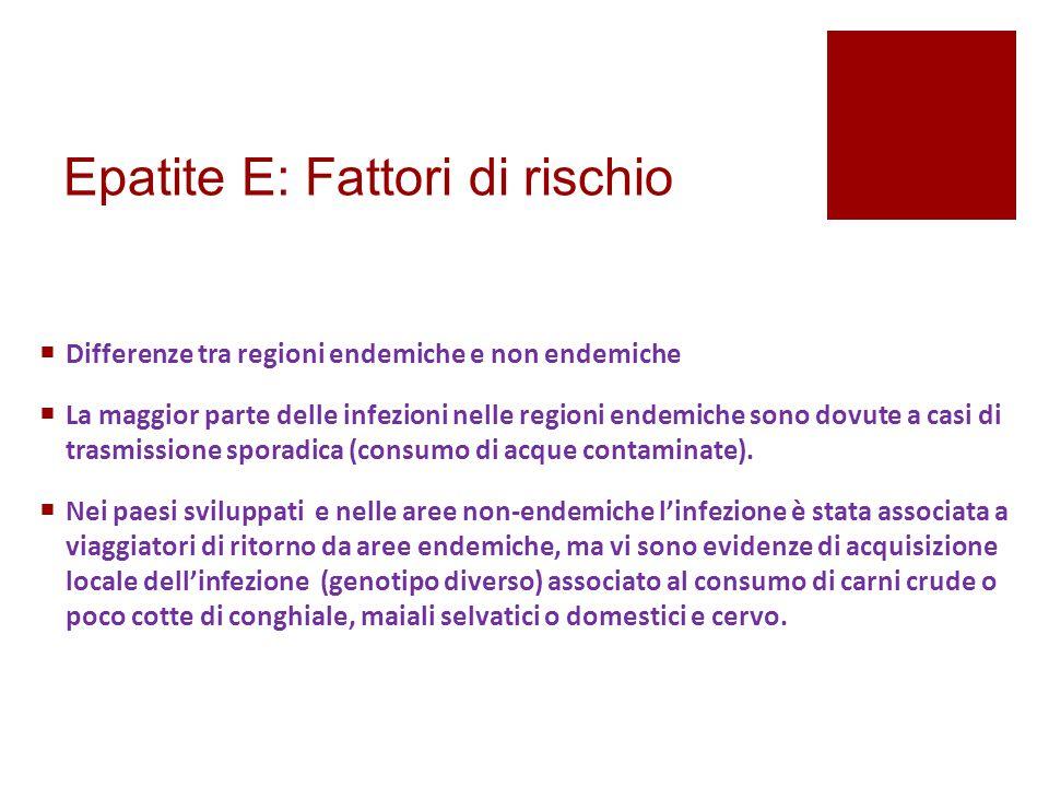 Epatite E: Fattori di rischio  Differenze tra regioni endemiche e non endemiche  La maggior parte delle infezioni nelle regioni endemiche sono dovut