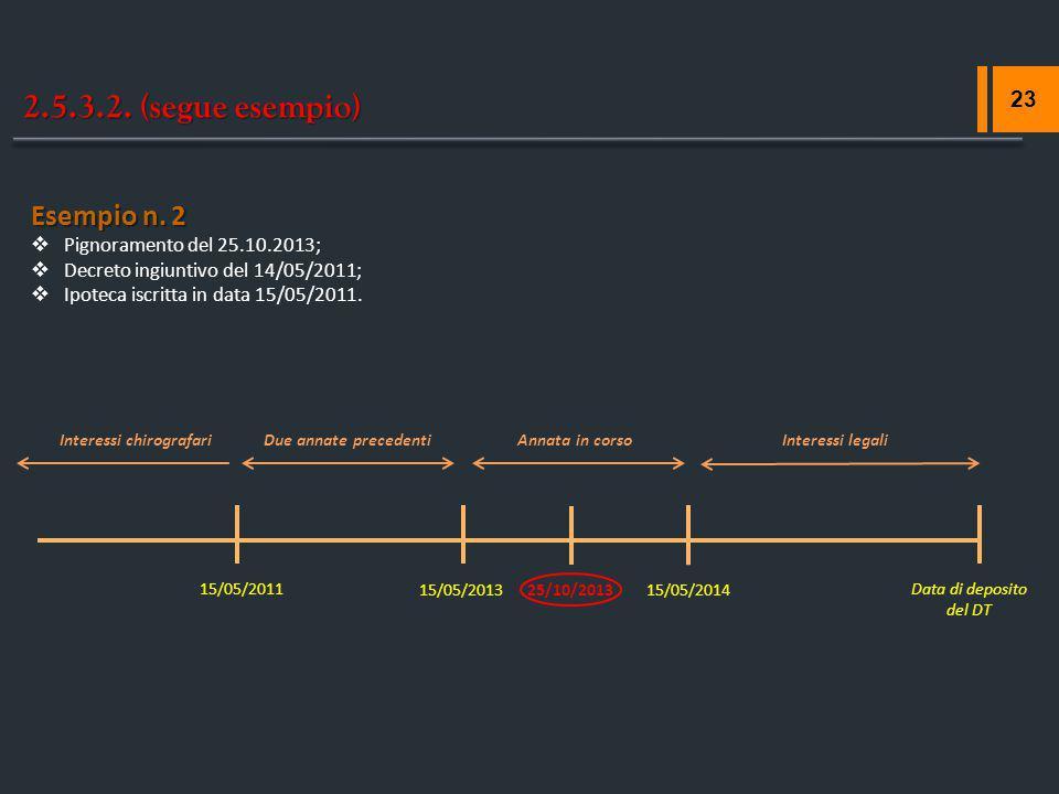 2.5.3.2. (segue esempio) 23 25/10/2013 Due annate precedentiInteressi legali 15/05/2011 Esempio n. 2  Pignoramento del 25.10.2013;  Decreto ingiunti