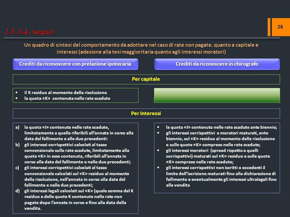2.5.3.4. (segue) 26 Un quadro di sintesi del comportamento da adottare nel caso di rate non pagate, quanto a capitale e interessi (adesione alla tesi