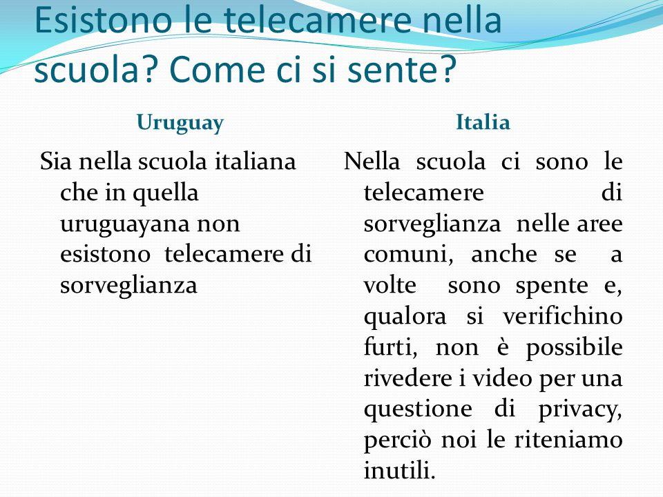 Esistono le telecamere nella scuola? Come ci si sente? UruguayItalia Sia nella scuola italiana che in quella uruguayana non esistono telecamere di sor