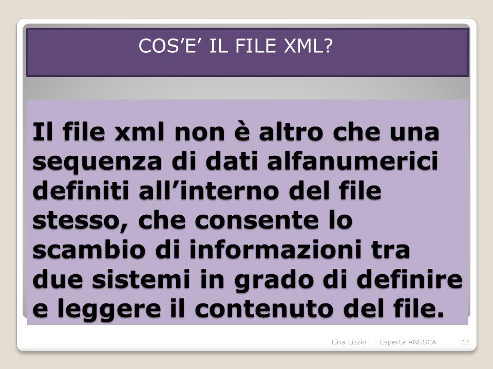 Il file xml non è altro che una sequenza di dati alfanumerici definiti all'interno del file stesso, che consente lo scambio di informazioni tra due sistemi in grado di definire e leggere il contenuto del file.