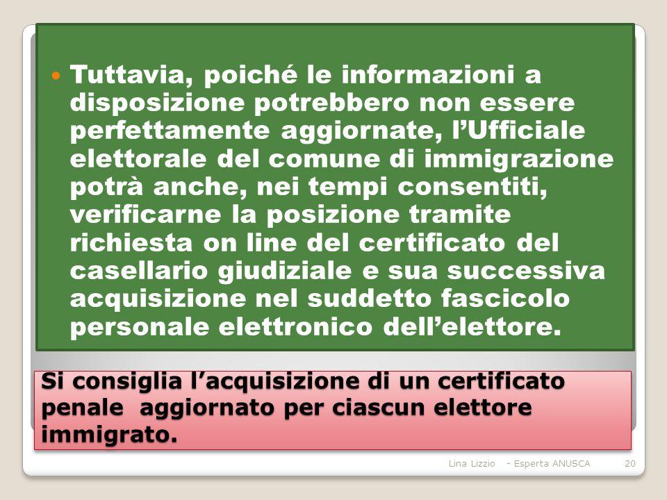 Si consiglia l'acquisizione di un certificato penale aggiornato per ciascun elettore immigrato.