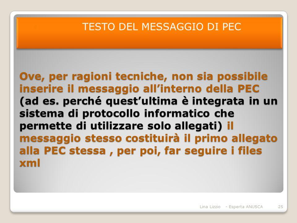 Ove, per ragioni tecniche, non sia possibile inserire il messaggio all'interno della PEC (ad es.