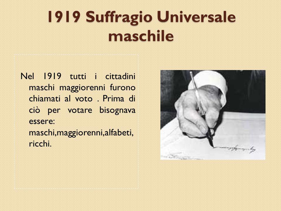 1919 Suffragio Universale maschile Nel 1919 tutti i cittadini maschi maggiorenni furono chiamati al voto.