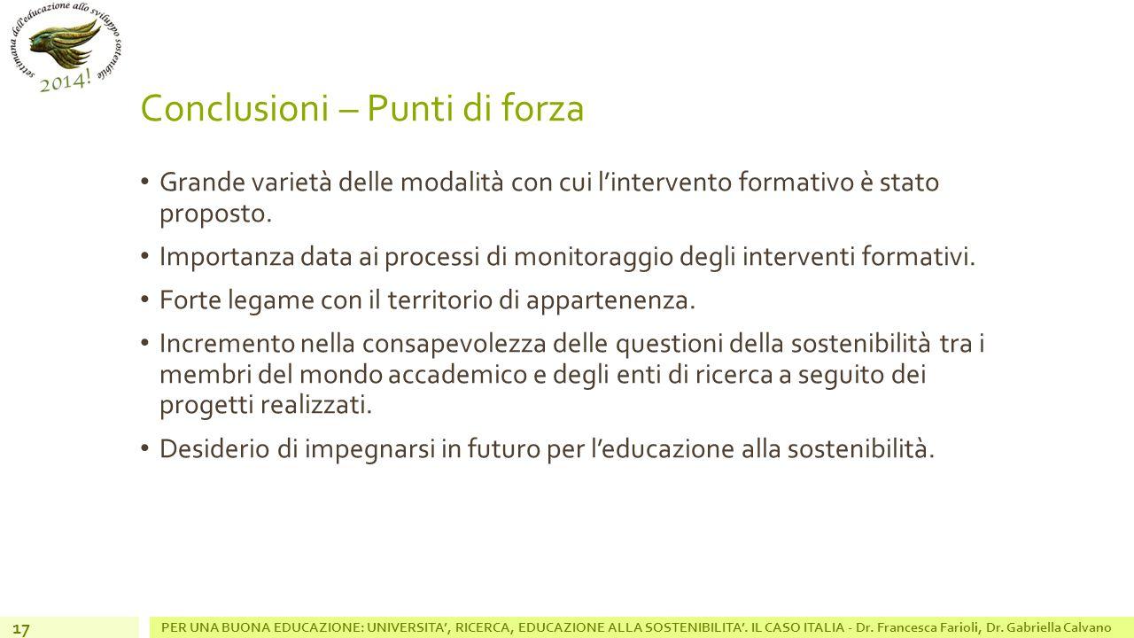 Conclusioni – Punti di forza Grande varietà delle modalità con cui l'intervento formativo è stato proposto.