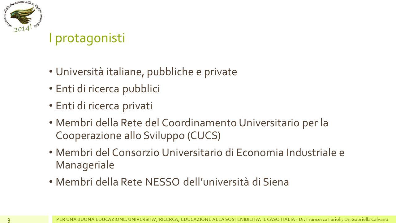 I protagonisti Università italiane, pubbliche e private Enti di ricerca pubblici Enti di ricerca privati Membri della Rete del Coordinamento Universitario per la Cooperazione allo Sviluppo (CUCS) Membri del Consorzio Universitario di Economia Industriale e Manageriale Membri della Rete NESSO dell'università di Siena 3 PER UNA BUONA EDUCAZIONE: UNIVERSITA', RICERCA, EDUCAZIONE ALLA SOSTENIBILITA'.