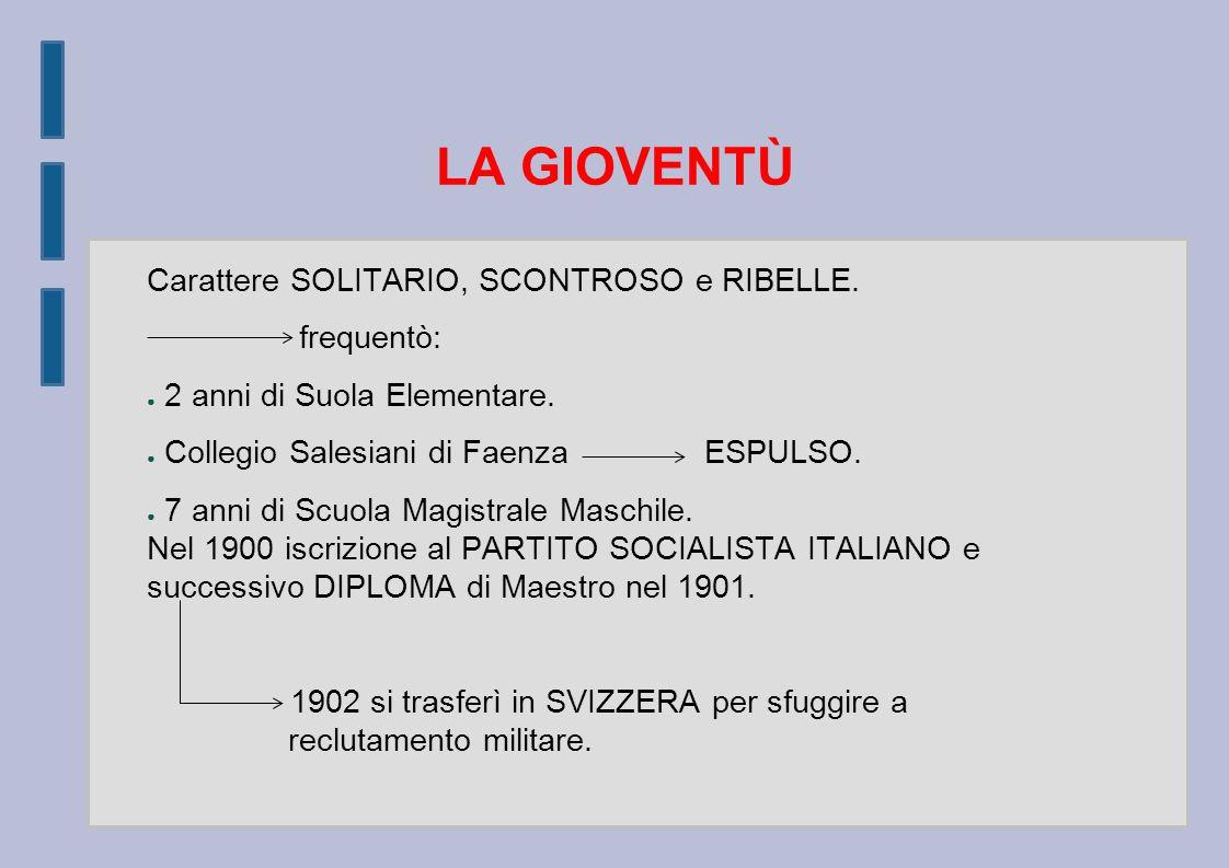 LA GIOVENTÙ Carattere SOLITARIO, SCONTROSO e RIBELLE.
