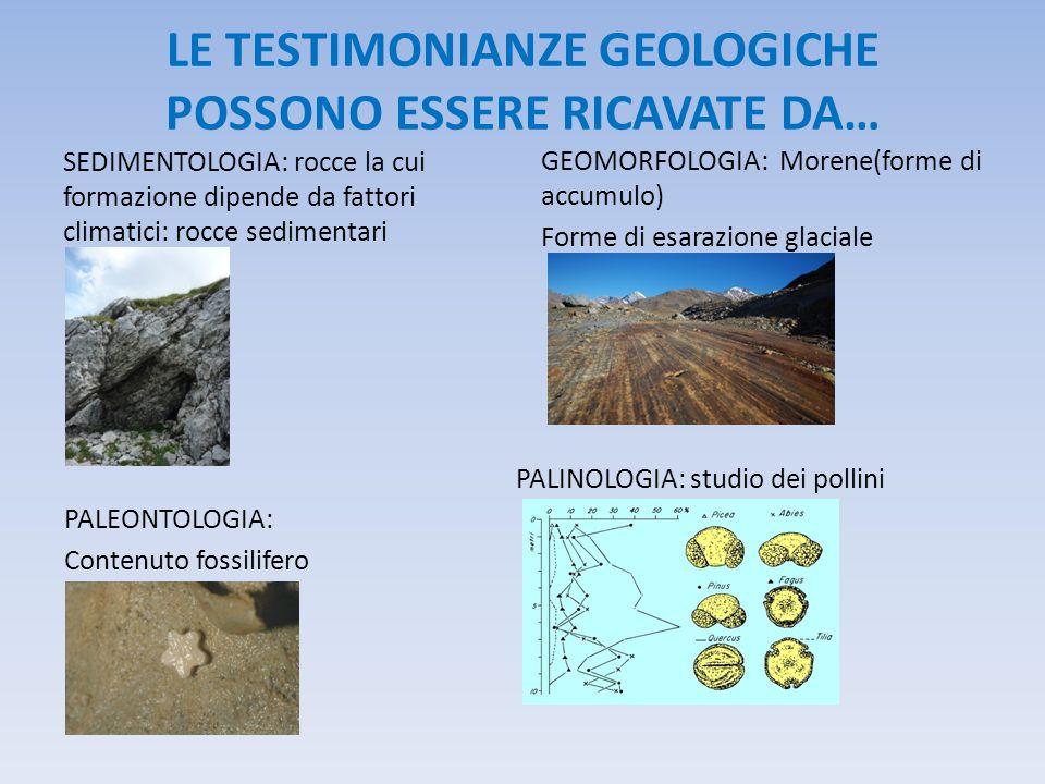 LE TESTIMONIANZE GEOLOGICHE POSSONO ESSERE RICAVATE DA… SEDIMENTOLOGIA: rocce la cui formazione dipende da fattori climatici: rocce sedimentari PALINOLOGIA: studio dei pollini GEOMORFOLOGIA: Morene(forme di accumulo) Forme di esarazione glaciale PALEONTOLOGIA: Contenuto fossilifero