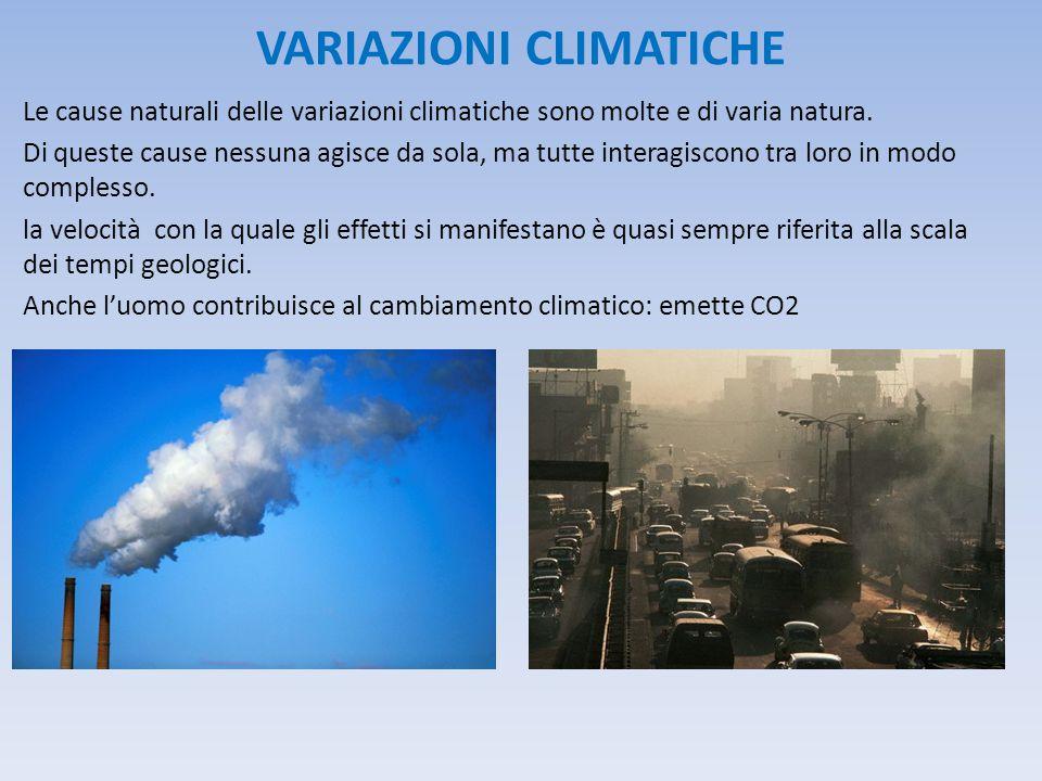 VARIAZIONI CLIMATICHE Le cause naturali delle variazioni climatiche sono molte e di varia natura. Di queste cause nessuna agisce da sola, ma tutte int