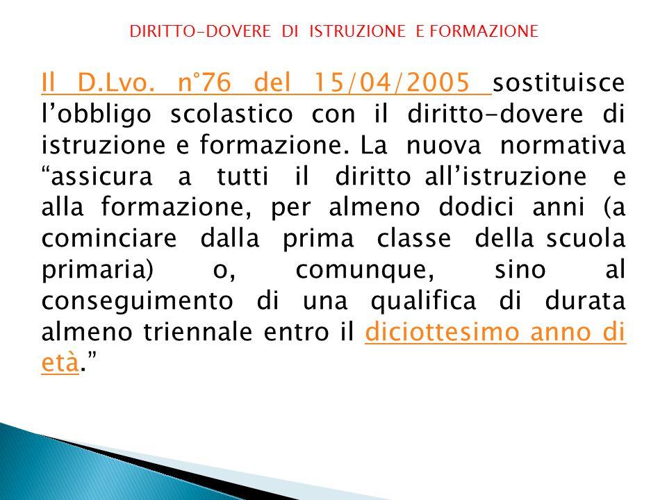 DIRITTO-DOVERE DI ISTRUZIONE E FORMAZIONE Il D.Lvo.