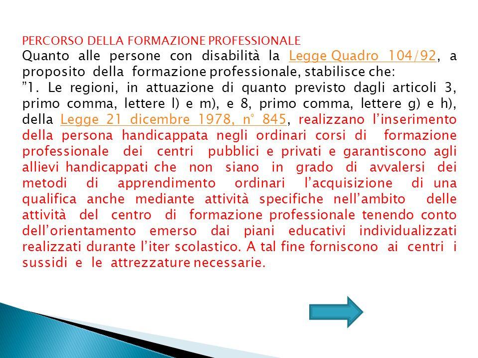 PERCORSO DELLA FORMAZIONE PROFESSIONALE Quanto alle persone con disabilità la Legge Quadro 104/92, a proposito della formazione professionale, stabilisce che:Legge Quadro 104/92 1.