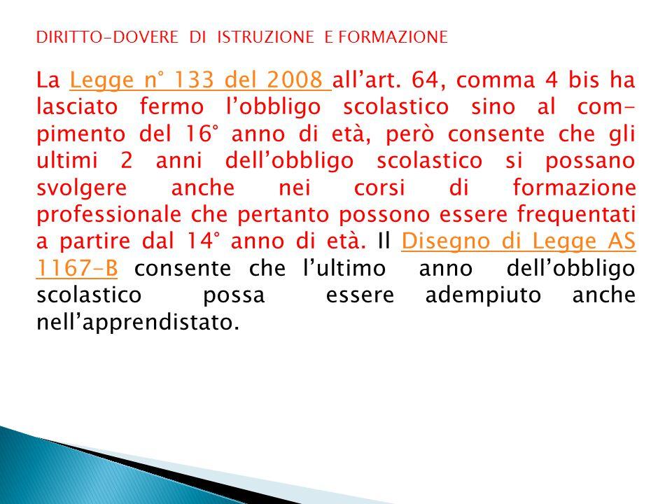 DIRITTO-DOVERE DI ISTRUZIONE E FORMAZIONE La Legge n° 133 del 2008 all'art.