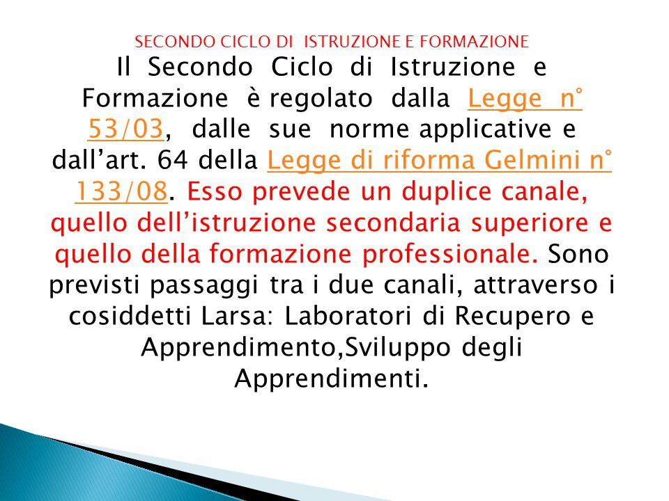 SECONDO CICLO DI ISTRUZIONE E FORMAZIONE Il Secondo Ciclo di Istruzione e Formazione è regolato dalla Legge n° 53/03, dalle sue norme applicative e dall'art.