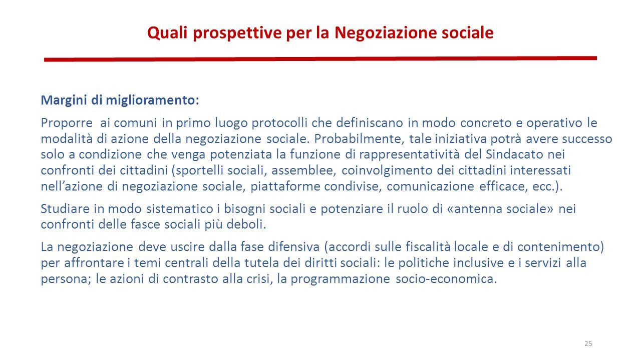 Quali prospettive per la Negoziazione sociale Margini di miglioramento: Proporre ai comuni in primo luogo protocolli che definiscano in modo concreto e operativo le modalità di azione della negoziazione sociale.