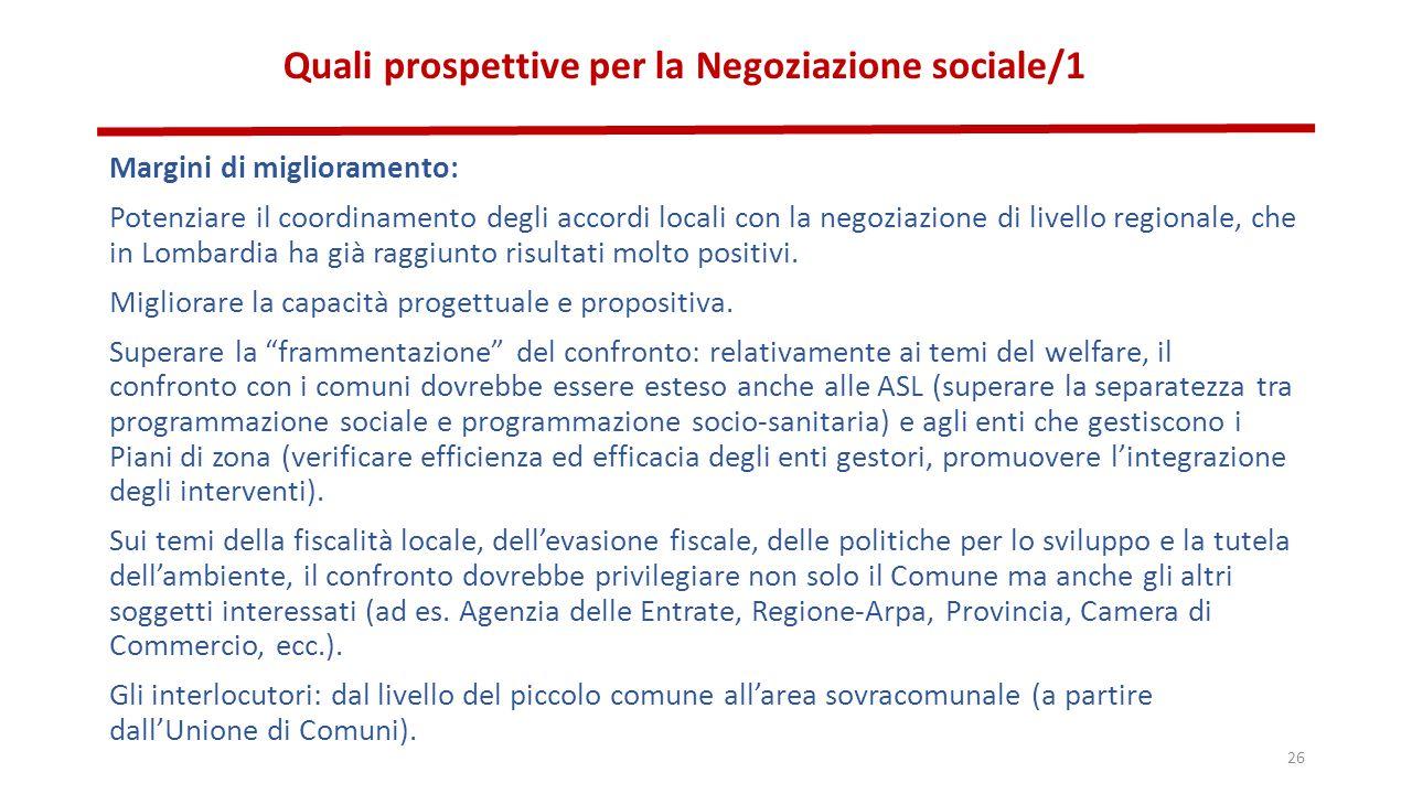 Quali prospettive per la Negoziazione sociale/1 Margini di miglioramento: Potenziare il coordinamento degli accordi locali con la negoziazione di livello regionale, che in Lombardia ha già raggiunto risultati molto positivi.