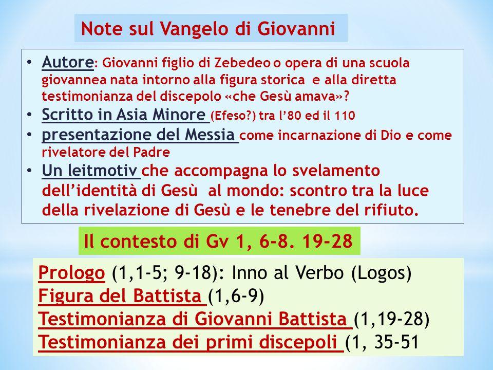 Il contesto di Gv 1, 6-8. 19-28 Prologo (1,1-5; 9-18): Inno al Verbo (Logos) Figura del Battista (1,6-9) Testimonianza di Giovanni Battista (1,19-28)