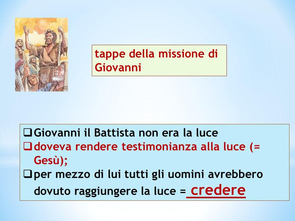  Giovanni il Battista non era la luce  doveva rendere testimonianza alla luce (= Gesù);  per mezzo di lui tutti gli uomini avrebbero dovuto raggiun
