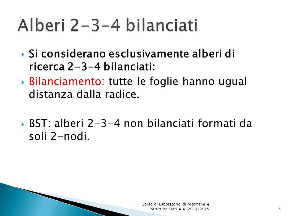  Si considerano esclusivamente alberi di ricerca 2-3-4 bilanciati:  Bilanciamento: tutte le foglie hanno ugual distanza dalla radice.