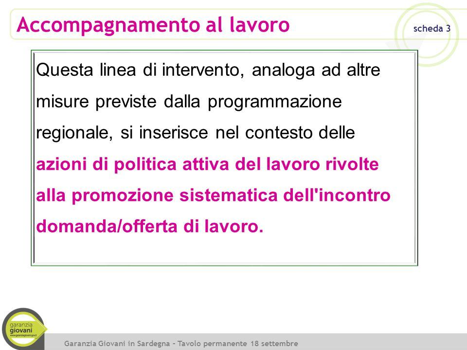 Accompagnamento al lavoro scheda 3 Garanzia Giovani in Sardegna – Tavolo permanente 18 settembre 2014 Questa linea di intervento, analoga ad altre mis