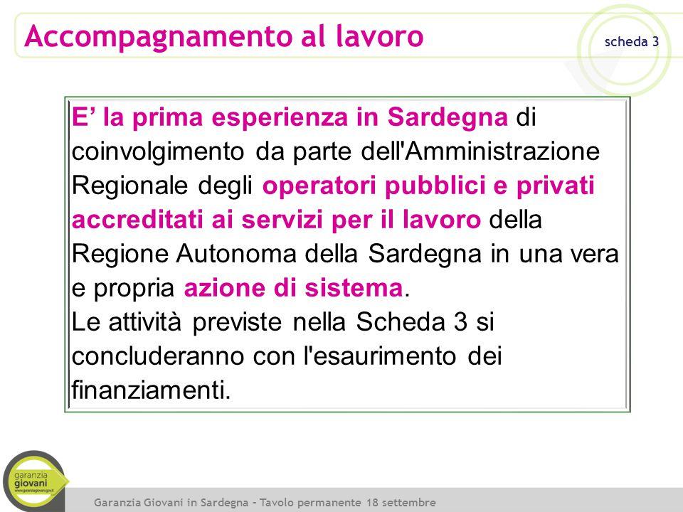 Accompagnamento al lavoro scheda 3 Garanzia Giovani in Sardegna – Tavolo permanente 18 settembre 2014 E' la prima esperienza in Sardegna di coinvolgim