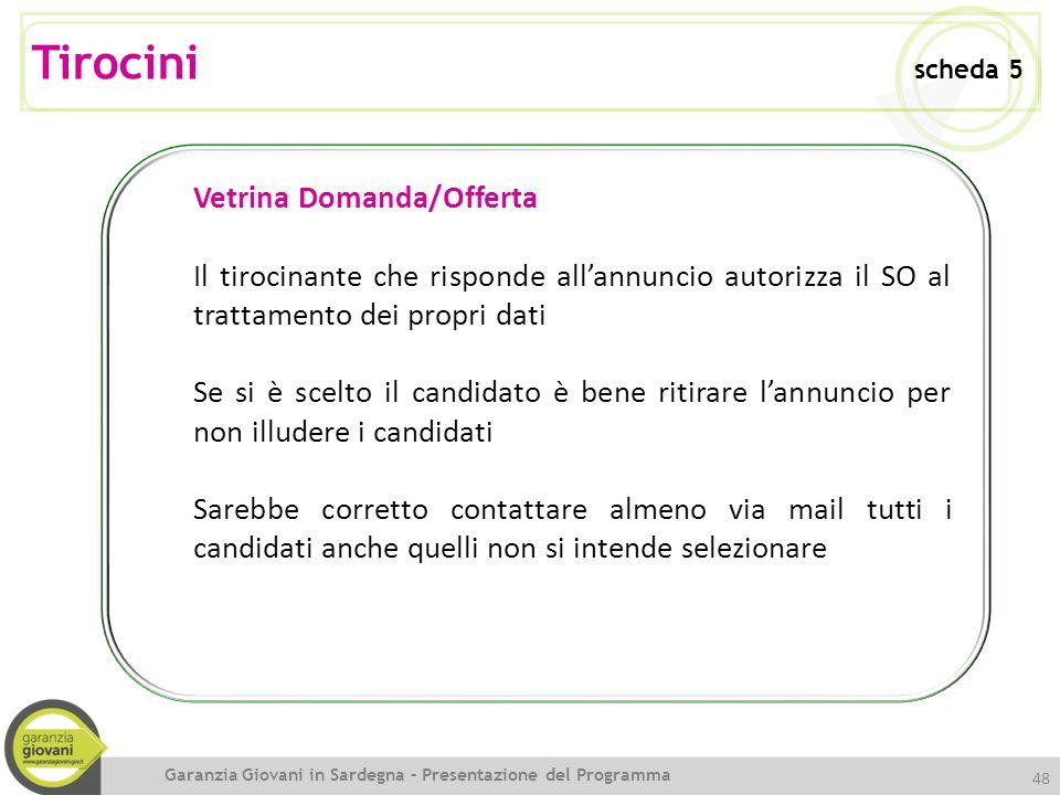48 Vetrina Domanda/Offerta Il tirocinante che risponde all'annuncio autorizza il SO al trattamento dei propri dati Se si è scelto il candidato è bene