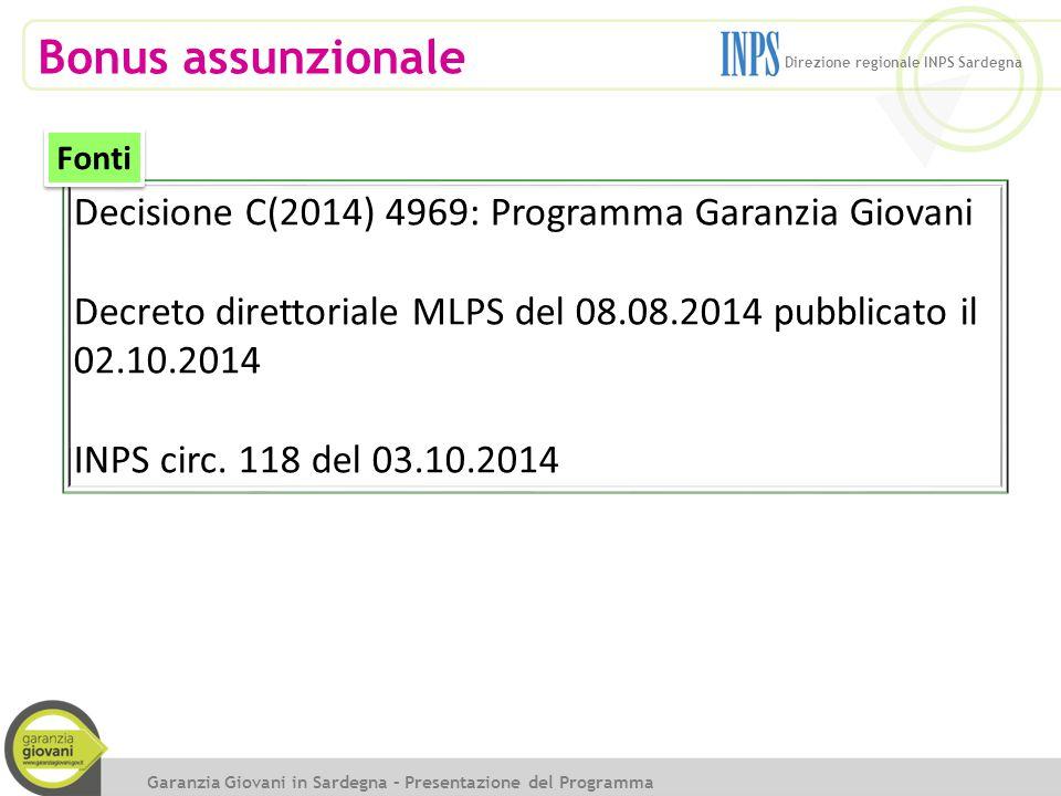 Bonus assunzionale Decisione C(2014) 4969: Programma Garanzia Giovani Decreto direttoriale MLPS del 08.08.2014 pubblicato il 02.10.2014 INPS circ. 118