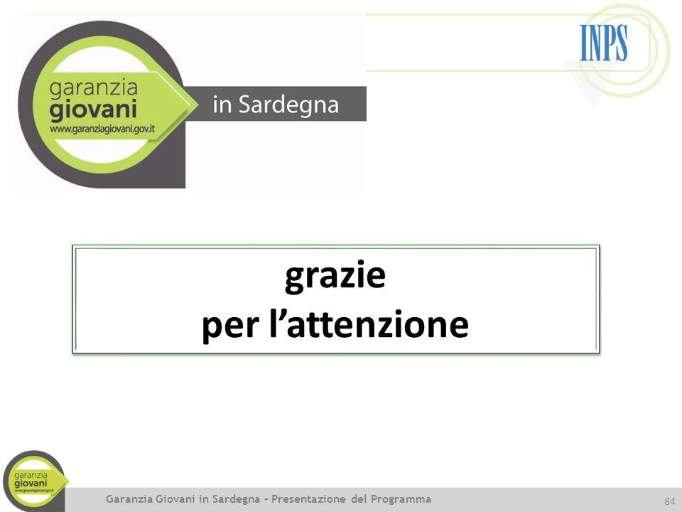 84 Garanzia Giovani in Sardegna – Presentazione del Programma grazie per l'attenzione grazie per l'attenzione