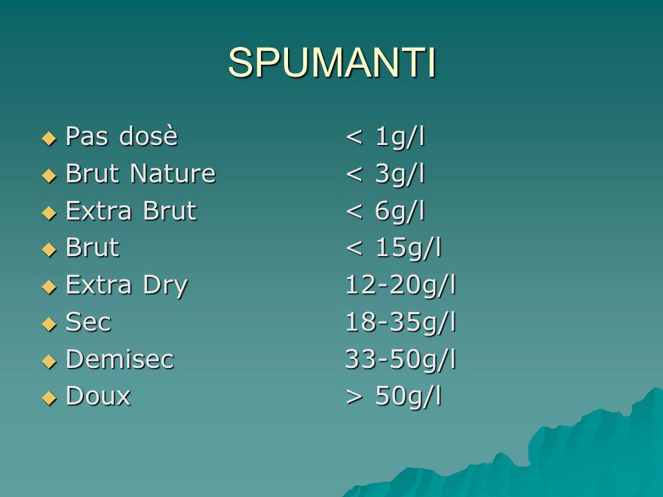 SPUMANTI  Pas dosè  Brut Nature  Extra Brut  Brut  Extra Dry  Sec  Demisec  Doux < 1g/l < 3g/l < 6g/l < 15g/l 12-20g/l18-35g/l33-50g/l > 50g/l