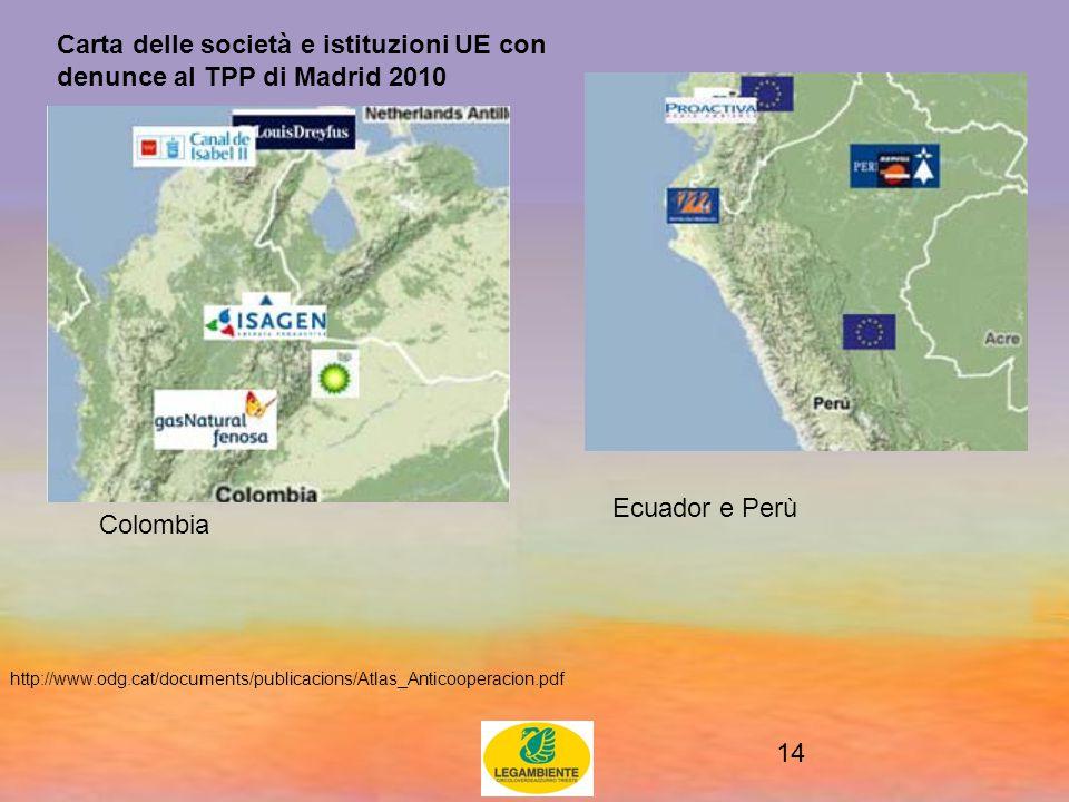 14 Carta delle società e istituzioni UE con denunce al TPP di Madrid 2010 http://www.odg.cat/documents/publicacions/Atlas_Anticooperacion.pdf Colombia Ecuador e Perù