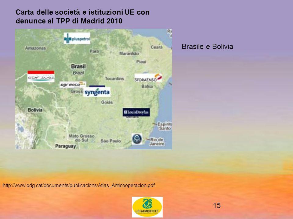 15 Carta delle società e istituzioni UE con denunce al TPP di Madrid 2010 http://www.odg.cat/documents/publicacions/Atlas_Anticooperacion.pdf Brasile e Bolivia