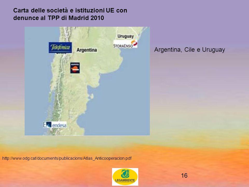 16 Carta delle società e istituzioni UE con denunce al TPP di Madrid 2010 http://www.odg.cat/documents/publicacions/Atlas_Anticooperacion.pdf Argentina, Cile e Uruguay