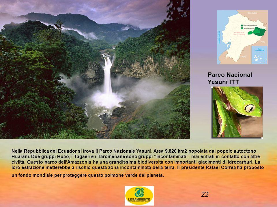 22 Parco Nacional Yasuni ITT Nella Repubblica del Ecuador si trova il Parco Nazionale Yasuni.
