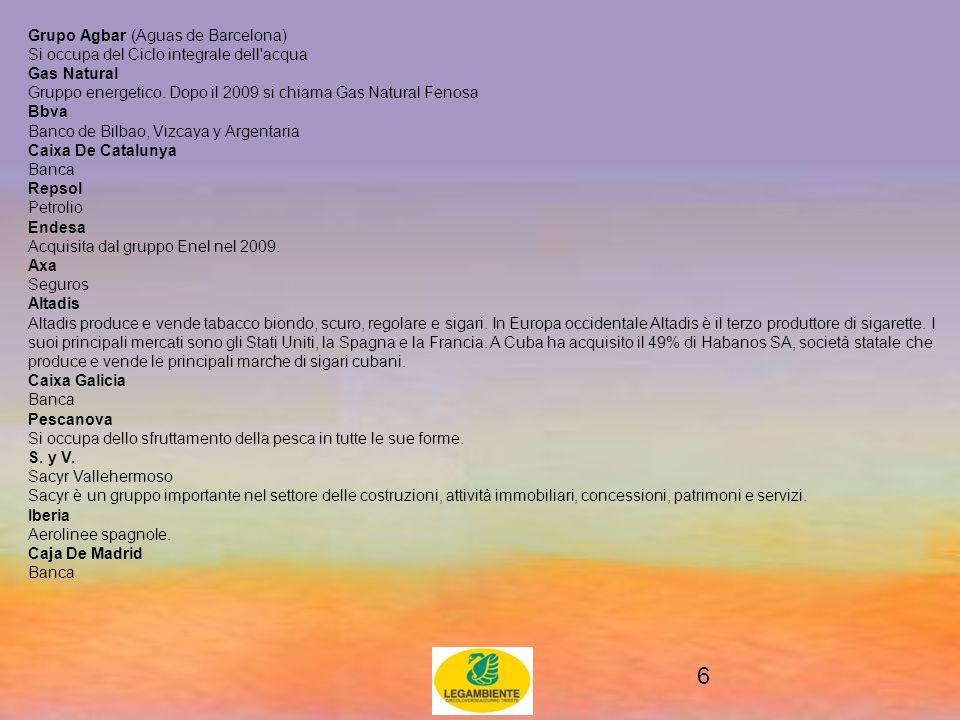 6 Grupo Agbar (Aguas de Barcelona) Si occupa del Ciclo integrale dell acqua Gas Natural Gruppo energetico.