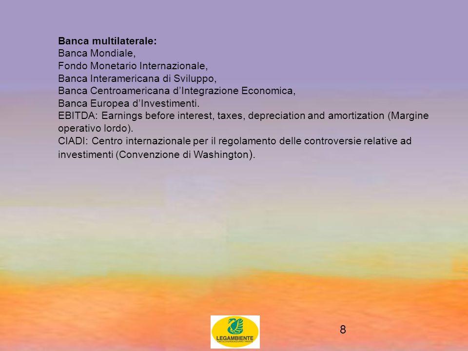 8 Banca multilaterale: Banca Mondiale, Fondo Monetario Internazionale, Banca Interamericana di Sviluppo, Banca Centroamericana d'Integrazione Economica, Banca Europea d'Investimenti.