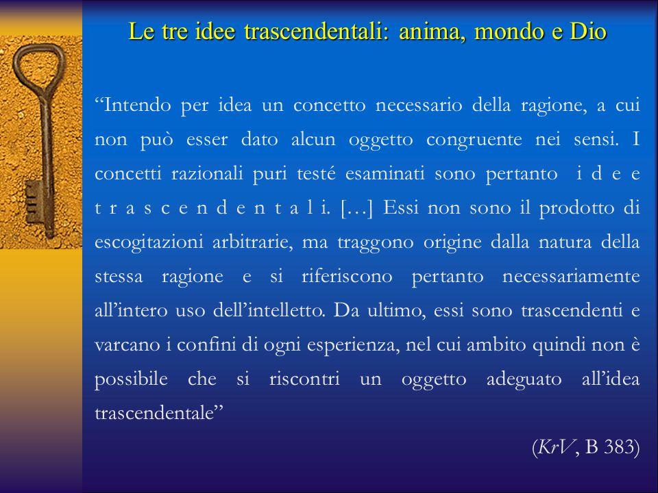 """Le tre idee trascendentali: anima, mondo e Dio """"Intendo per idea un concetto necessario della ragione, a cui non può esser dato alcun oggetto congruen"""