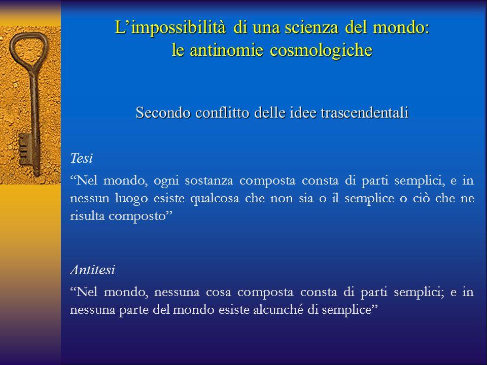 """L'impossibilità di una scienza del mondo: le antinomie cosmologiche Secondo conflitto delle idee trascendentali Tesi """"Nel mondo, ogni sostanza compost"""