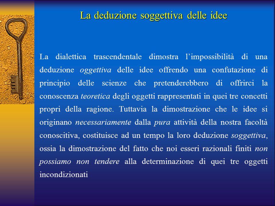 La deduzione soggettiva delle idee La dialettica trascendentale dimostra l'impossibilità di una deduzione oggettiva delle idee offrendo una confutazio