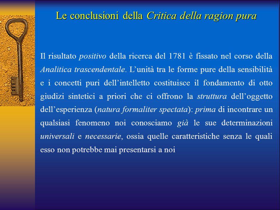 Le conclusioni della Critica della ragion pura Il risultato positivo della ricerca del 1781 è fissato nel corso della Analitica trascendentale. L'unit