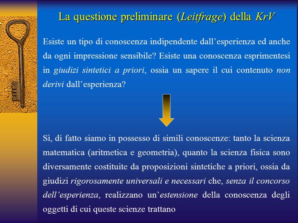 La questione preliminare (Leitfrage) della KrV Sì, di fatto siamo in possesso di simili conoscenze: tanto la scienza matematica (aritmetica e geometri