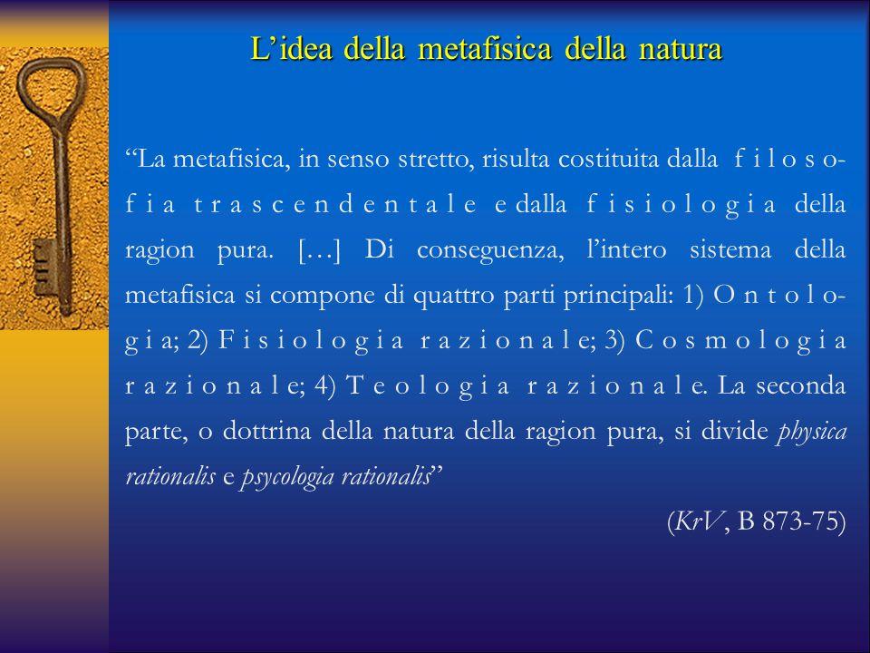 """""""La metafisica, in senso stretto, risulta costituita dalla f i l o s o- f i a t r a s c e n d e n t a l e e dalla f i s i o l o g i a della ragion pur"""