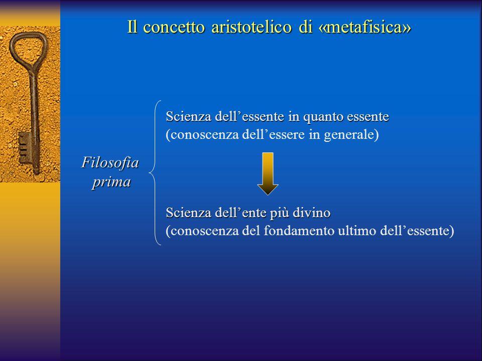 Il concetto aristotelico di «metafisica» Filosofiaprima Scienza dell'essente in quanto essente (conoscenza dell'essere in generale) Scienza dell'ente
