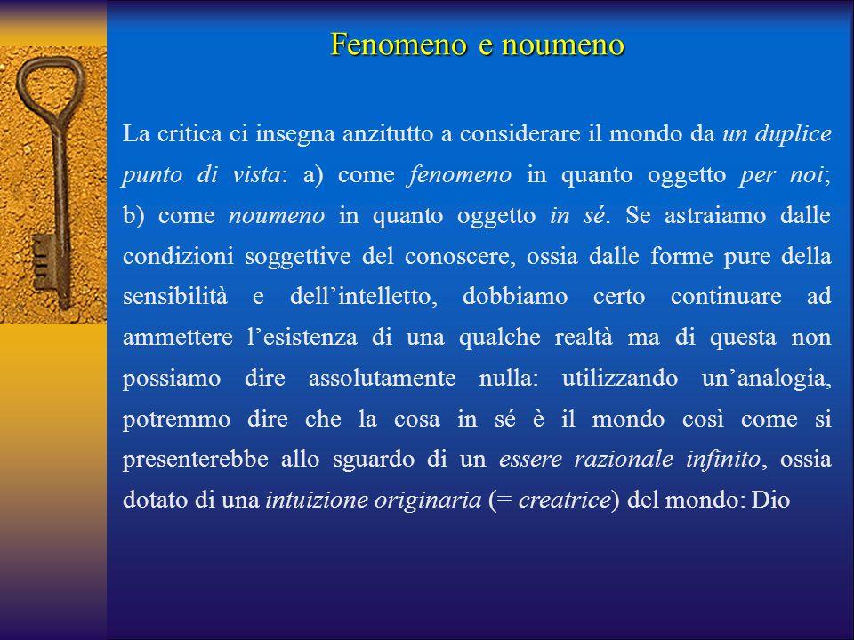 La critica ci insegna anzitutto a considerare il mondo da un duplice punto di vista: a) come fenomeno in quanto oggetto per noi; b) come noumeno in qu
