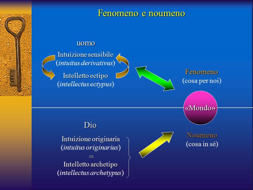 Noumeno (cosa in sé) Fenomeno (cosa per noi) Intuizione sensibile (intuitus derivativus) Intelletto ectipo (intellectus ectypus) Intuizione originaria